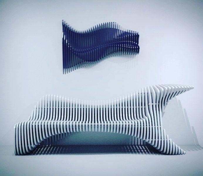 Параметрическая скамья и панно. #p_metric - параметрическая мебель из фанеры P.metric #furniture #wood #plywood #parametricdesign #parametric #table #sofa #bench #art #параметрика #параметрический