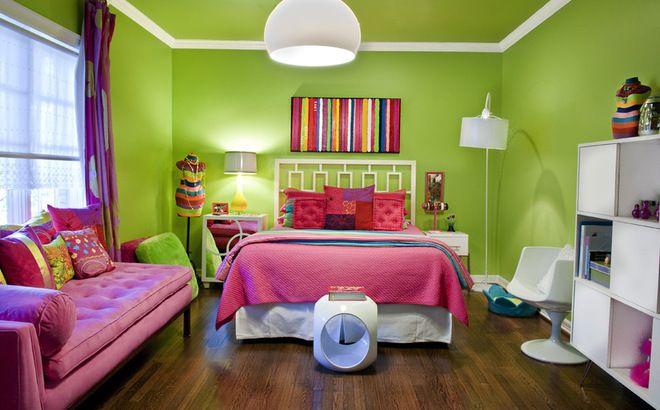 Colorful bedroom and nice arrangement.   Hot pink bedrooms