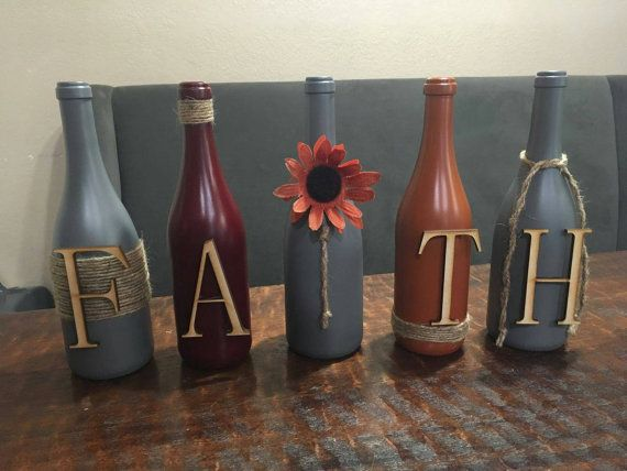 Hey, I found this really awesome Etsy listing at https://www.etsy.com/listing/490426761/faith-decor-painted-wine-bottles