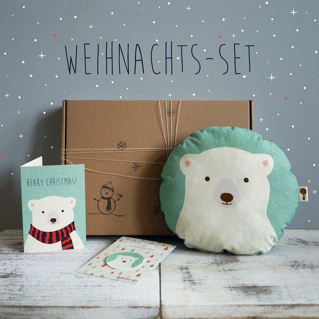 Geschenkidee für Weihnachten: Set aus Eisbär-Kissen, Karte und Aufnäher / gift idea for christmas: snow bear set for kids: cushion, card and patch made by TellMe Berlin via DaWanda.com