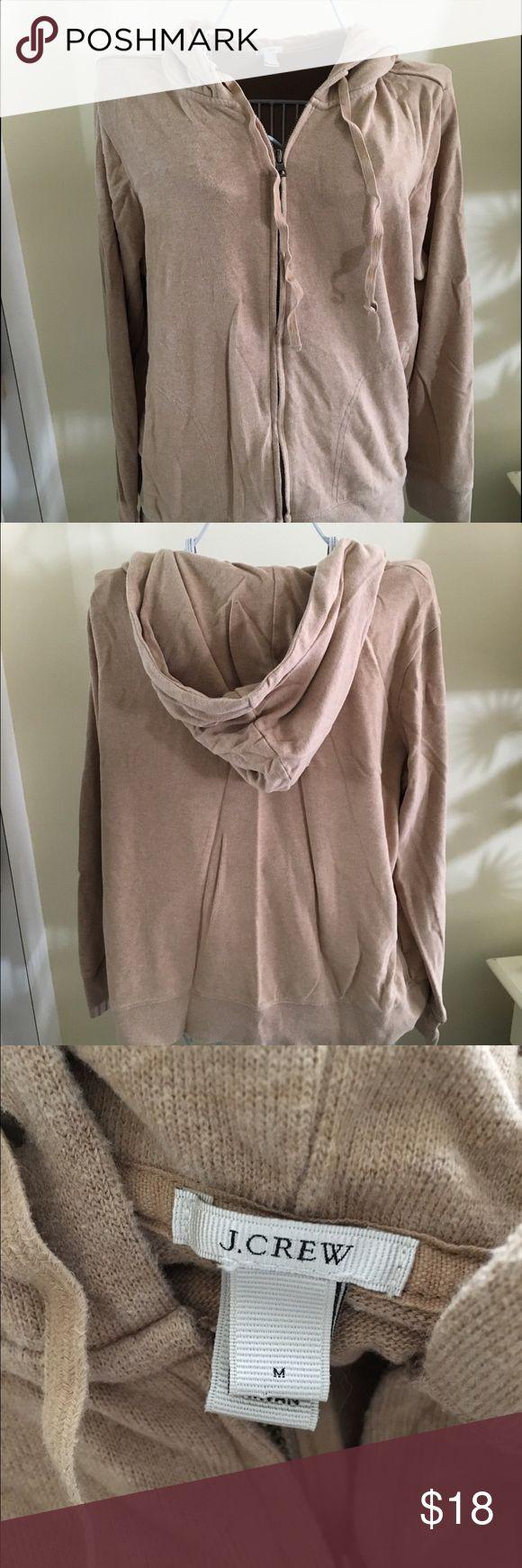 J.Crew Camel Hoodie Cotton zip up hoodie. Camel color. Size medium but runs large. Heavier weight. J. Crew Tops Sweatshirts & Hoodies