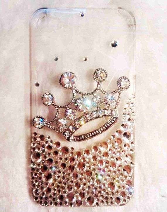 iPhone 4 case iphone 4s case bling luxury iphone case with bling crown! luxury! by iPhoneCasesFancylucy, $20.98- gift for Linds?!