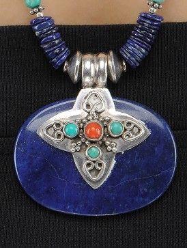 Лазурит и бирюзовый Серебряное ожерелье