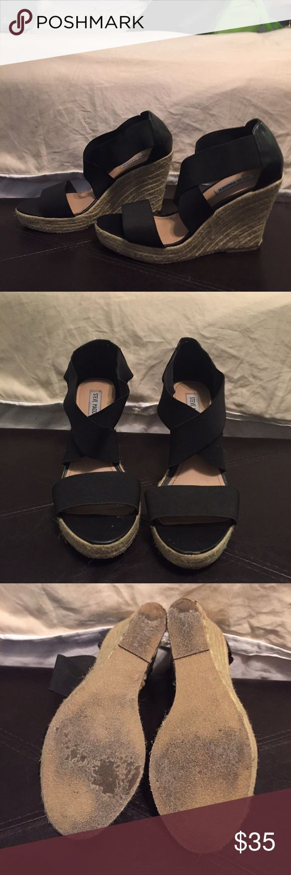 """Steve Madden Starla wedges Steve Madden  Starla strappy wedge heel espadrilles.  Size 10 Black bandage straps with neutral espadrille wedge base. Very good condition, only worn a handful of times. The """"bandage"""" straps are very elastic and VERY comfortable. I hate to see these go because they are so versatile, but I suffered an ankle injury and I am limited to flats for the moment.  I also have these same Starla wedges with cream colored straps and I will be posting them shortly. Steve Madden…"""