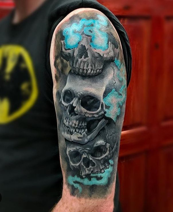 Hear No Evil See No Evil And Speak No Evil Skull Edition Mostly Healed Evil Tattoo Evil Tattoos Evil Skull Tattoo
