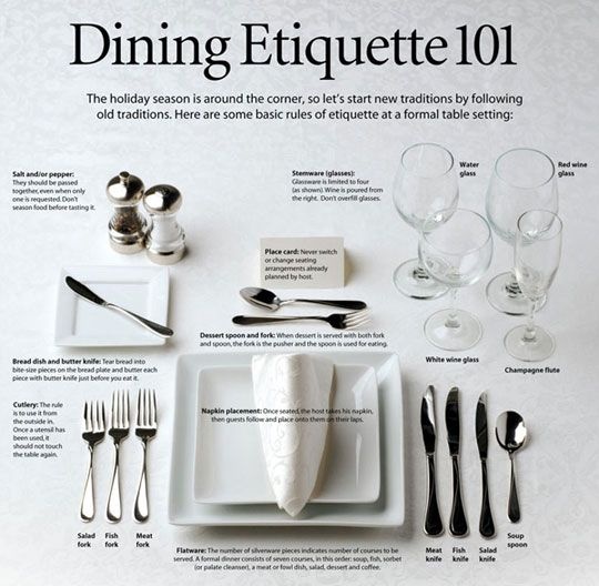 17 Best ideas about Etiquette Dinner on Pinterest Dining  : 8ce1449a885f445fad25d7c2879f9f32 from www.pinterest.com size 540 x 528 jpeg 51kB