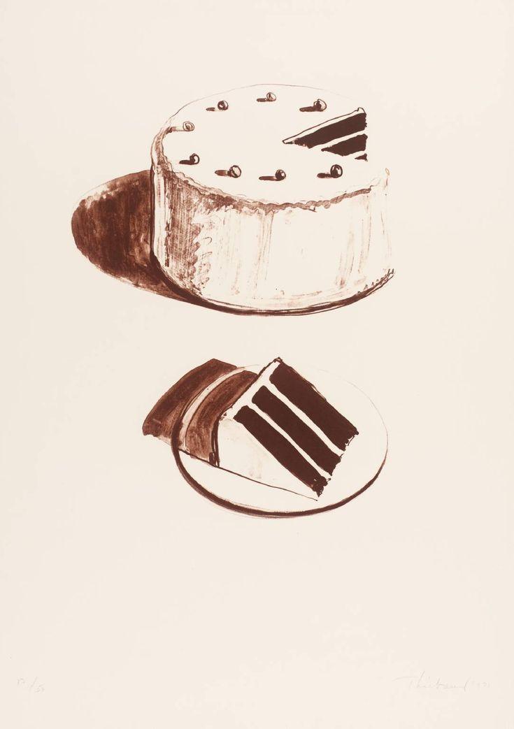 Wayne Thiebaud - Chocolate CakeCake 1971, Chocolates Cake, Thankswayn Thiebaud, Artists That Painting Food, 1971 Lithograph, Wayne Thiebaud, Thiebaud Art, Layered Cake, Food Art