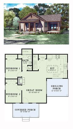New House Plan 82346 | Total Living Area: 859 sq. ft., 2 bedrooms and 1 bathroom. This charming little home offers a great room with a fireplace and is open to the kitchen that features an eat-at island bar and a vaulted ceiling. 2 bedrooms and 1 bath are on the left side of the home with a grilling porch off of the kitchen and a covered front covered porch with timber columns. #new