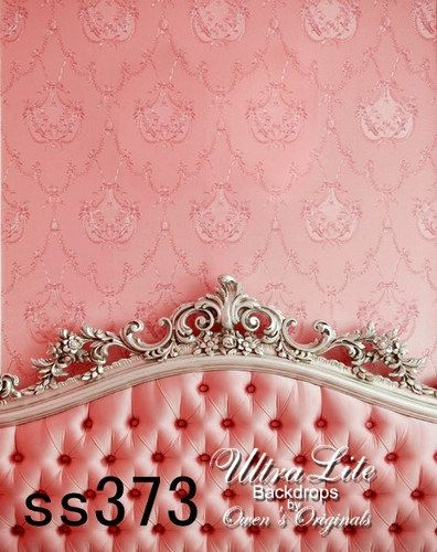 Photography Backdrop Pink Victorian Headboard Interior Background 5x7 Ft. Ultralite Fabric-Not Vinyl SS373