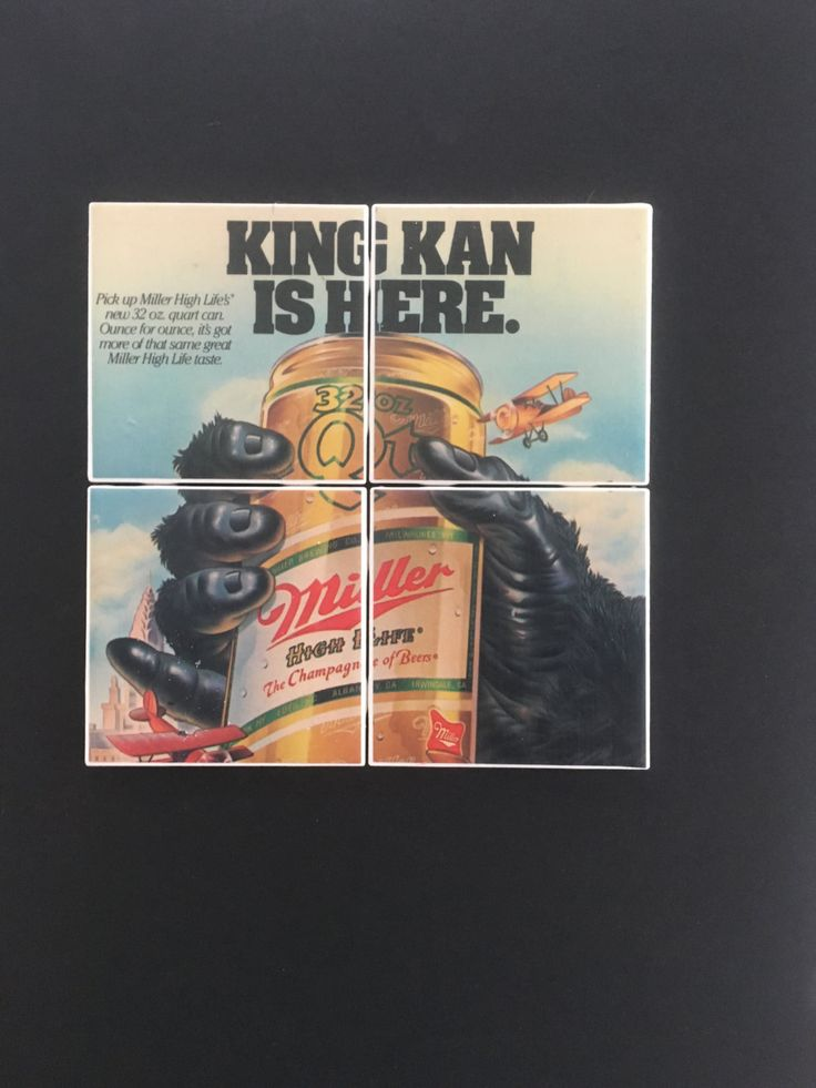 Vintage MILLER TIME BEER King Kan Ad Advertisement from 1984 on a Set of 4 Ceramic Hot and Cold Drink Beverage Coasters with Felt Backing by UpcyclingIt on Etsy