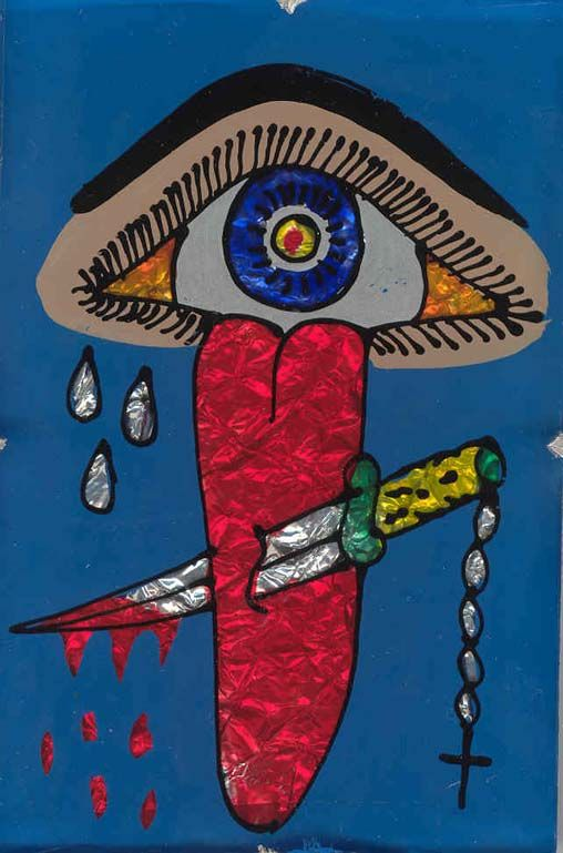 Protection from evil eye/gossip-Santeria. One of my favorite paintings.>>>I personally thought it was kind of disgusting, but it represents the religion, so I'm posting it. vkp-s