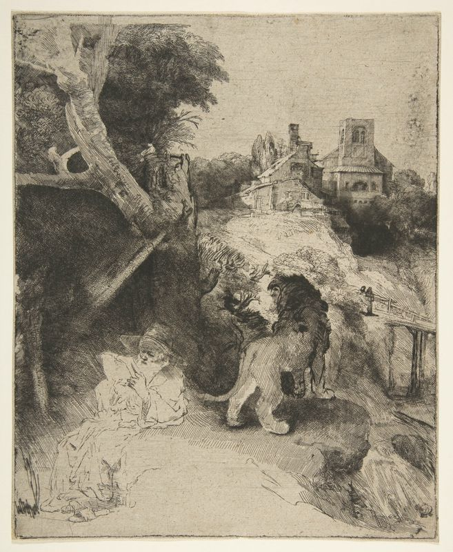 Rembrandt (Rembrandt van Rijn) (Dutch, Leiden 1606–1669 Amsterdam), St. Jerome Reading in an Italian Landscape, ca. 1653. Etching, drypoint, and engraving on oatmeal paper; second state of two, plate: 10 3/16 x 8 1/4 in. (25.9 x 21 cm). Gift of Felix M. Warburg and his family, 1941. The Metropolitan Museum of Art, 41.1.17 © 2000–2016 The Metropolitan Museum of Art.