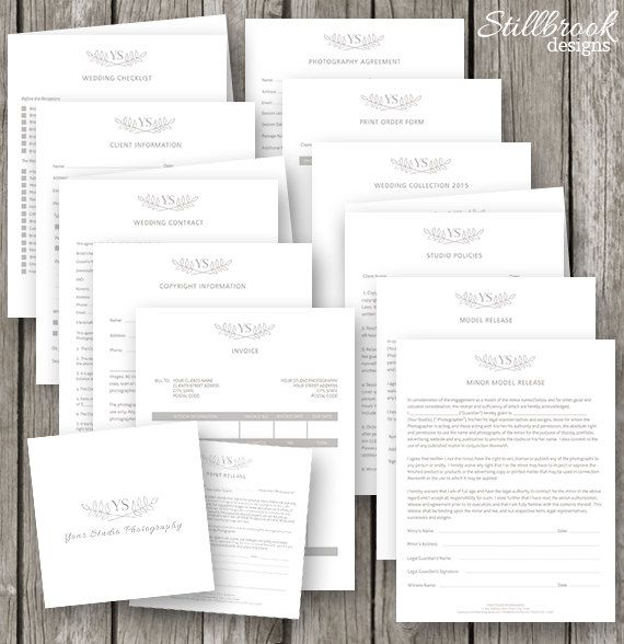 photographer forms contracts set photography business forms portrait photography contract template set wedding contract pf07
