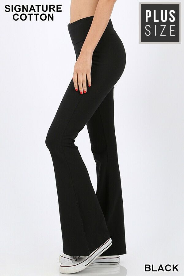 Advertisement Ebay New Zenana Premium Plus Size Black Cotton Full Length Flare Leg Yoga Pants Leggings Are Not Pants Plus Size