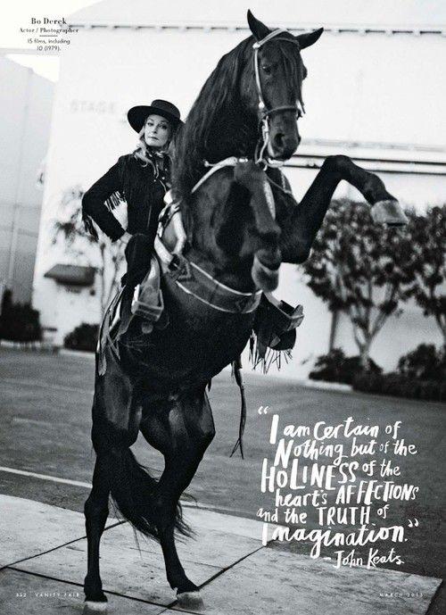 http://pegasebuzz.com/leblog | Horse with Bo Derek for Vanity Fair, march 2013