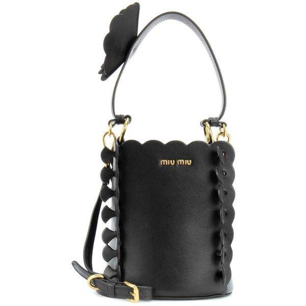 Miu Miu Leather Bucket Bag featuring polyvore, women's fashion, bags, handbags, shoulder bags, black, miu miu handbags, real leather purses, genuine leather handbags, miu miu purse and genuine leather shoulder bag