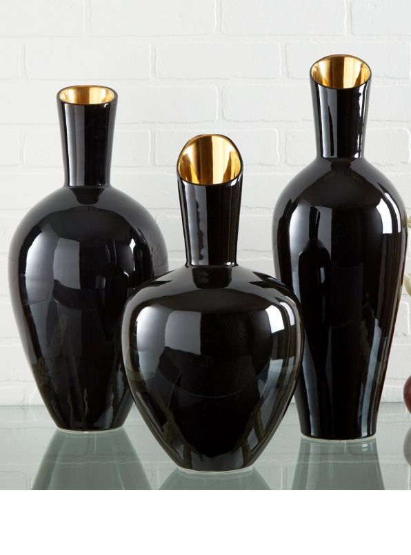 """""""Black Vases"""" Black Vase Ideas, By InStyle-Decor.com Over 3,500 Inspirations Now Online, Designer Furniture, Wall Mirrors, Lighting, Decorative Objects, Accessories & Accents. Professional Interior Design Solutions For Interior Architects, Interior Specifiers, Interior Designers, Interior Decorators, Hospitality, Commercial, Maritime & Residential Projects. Locations: Beverly Hills New York & London Global Inquiries Welcome Enjoy"""