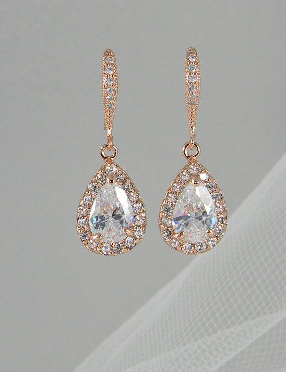 Crystal Bridal earrings, Rose Gold Wedding jewelry Swarovski Crystal Wedding earrings Bridal jewelry, Ariel Rose Gold Drop Earrings via Etsy