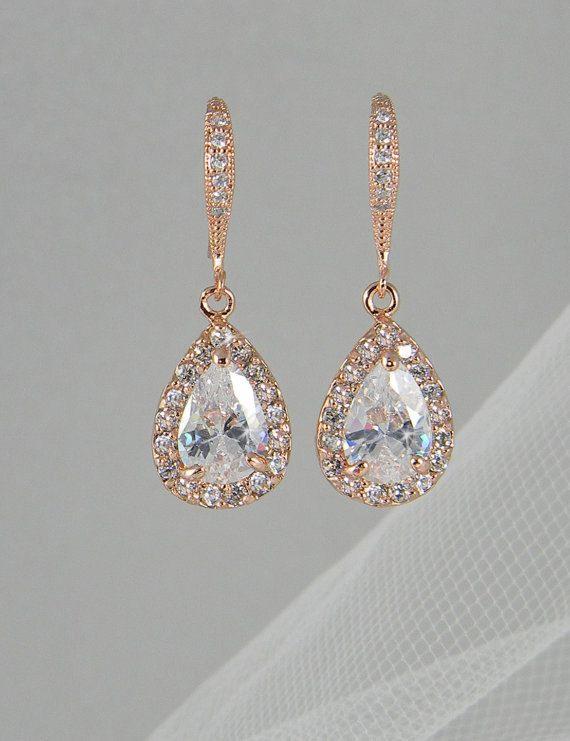 Crystal Bridal earrings, Rose Gold Wedding jewelry Swarovski Crystal Wedding earrings Bridal jewelry, Ariel Rose Gold Drop Earrings via Etsy