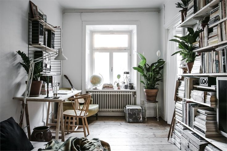 Cozy studio apartment filled with books