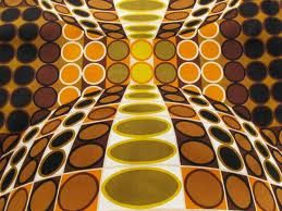 op art- creates visual illusions through largely geometric patterns