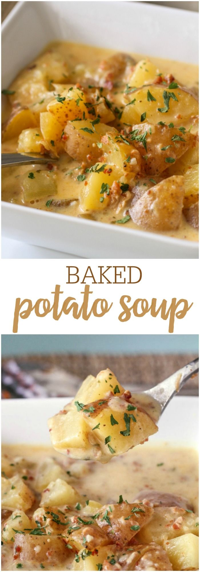 Creamy and delicious Crock Pot Baked Potato Soup - so full of flavor and easy…