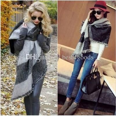 3 Colors Winter Fashion Women Oversized Check Blanket Scarf Female Imitation Cashmere Pashmina Wool Scarf Shawl Warm Thick Scarves Cape Wrap