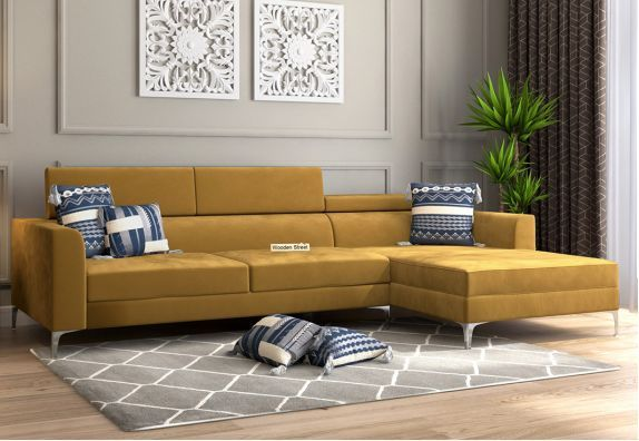 Albert L Shape Right Aligned Corner Sofa Velvet Chestnut Brown In 2020 Corner Sofa Set Corner Sofa Corner Sofa Living Room
