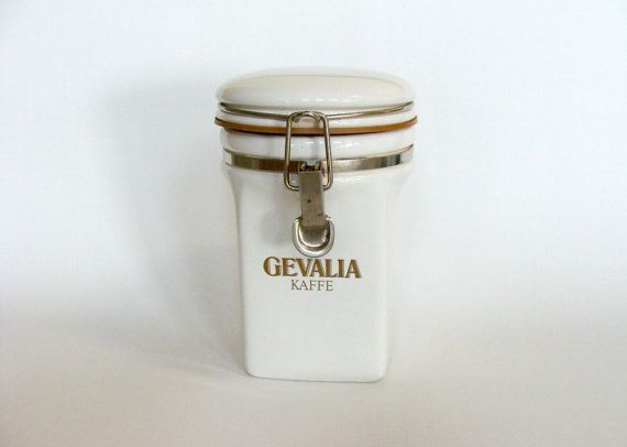 White Gevalia Kaffe Ceramic Coffee Canister Jar Retro