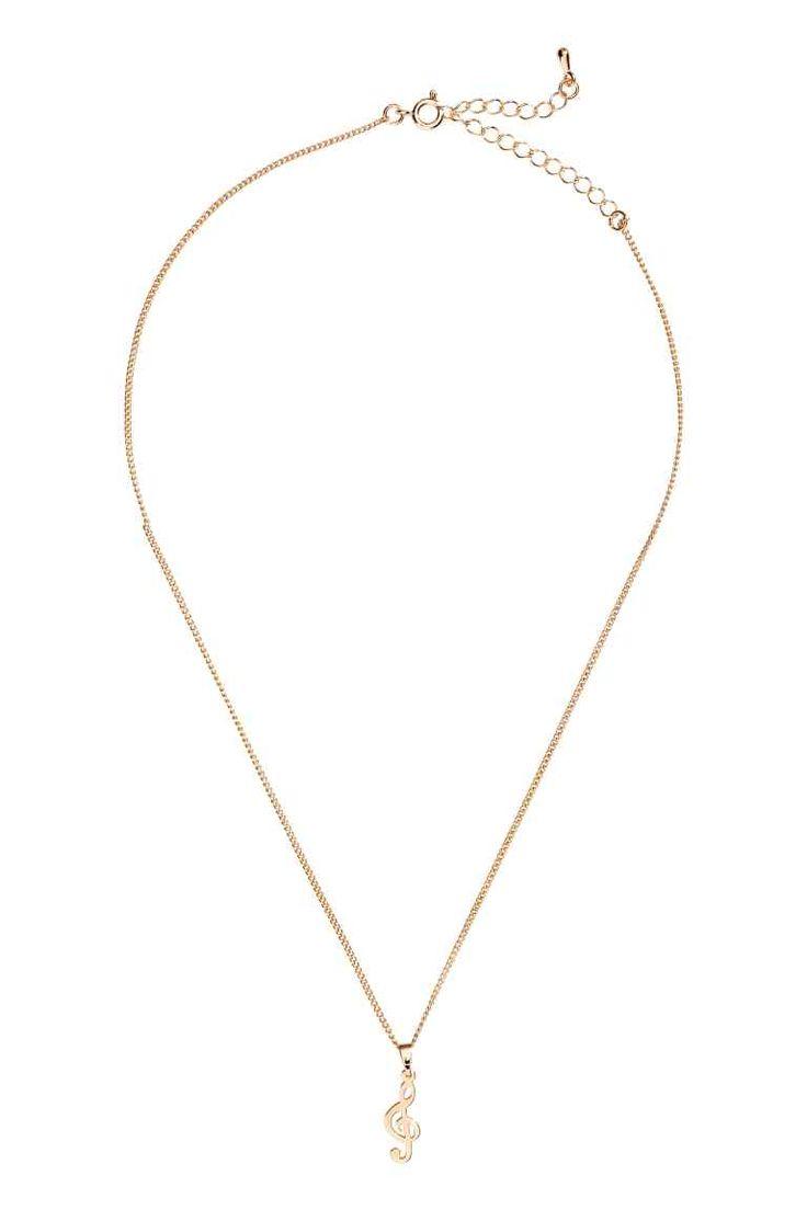 Halsketting met hanger - Goudkleurig/g-sleutel - DAMES | H&M NL