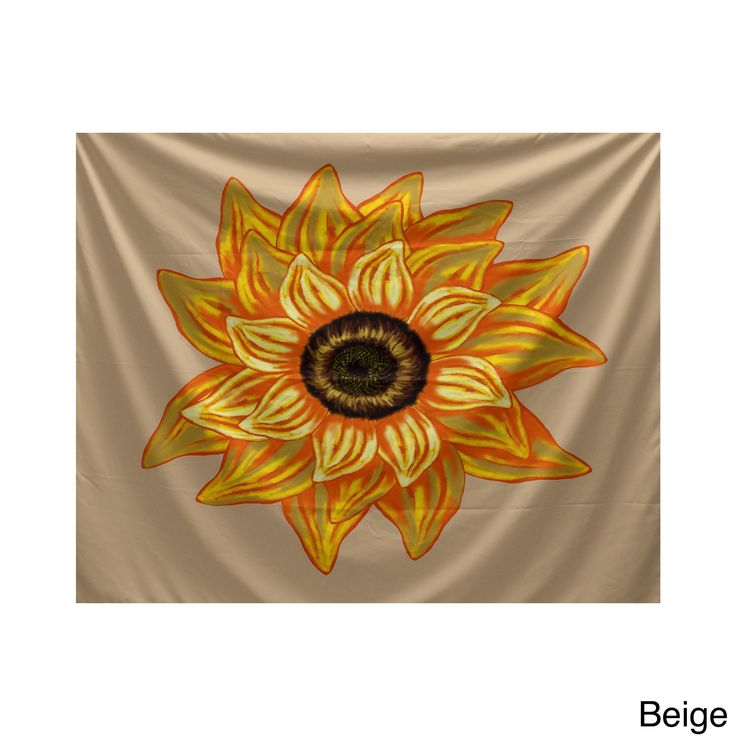 E by Design El Girasol Feliz Brown/Beige/Yellow Polyester 50-inch x 60-inch Floral-print Tapestry (Beige)