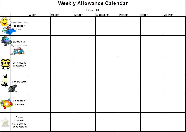 9 best images about allowance charts on pinterest With allowance chart template