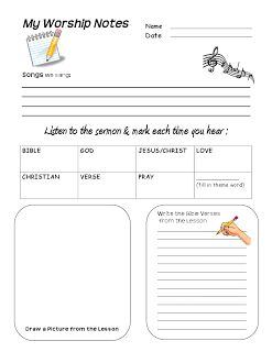 Worship Notes For Children- In order to keep Christ the focus, we have tried out many ways to help our children attend and commit to memory what they learn on Sunday. I created this sheet for that purpose.