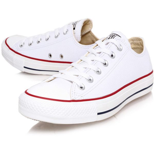 Converse White Chuck Taylor Leather Low Trainers (105 CAD) ❤ liked on Polyvore featuring shoes, sneakers, converse, trainers, converse shoes, low sneakers, lace up sneakers, converse trainers и lacing sneakers