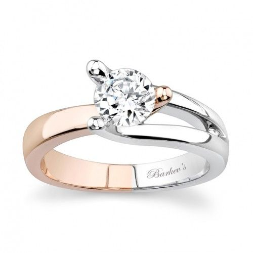 White & Rose Gold Solitaire Ring - 7045LPW