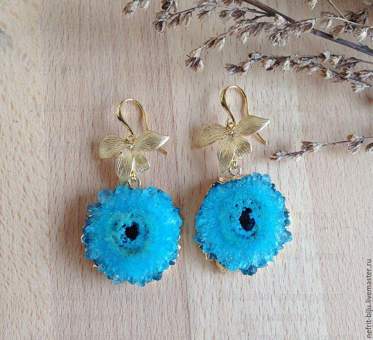 """Купить Серьги """"Синие кристаллы"""" - синий, искрящийся, искрящиеся серьги, яркие серьги, серьги с друзами"""