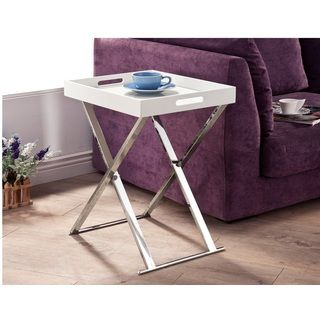 Shop for Lyke Home White Chrome Tray Table. Get free shipping at Overstock.com - Your Online Furniture Outlet Store! Get 5% in rewards with Club O!