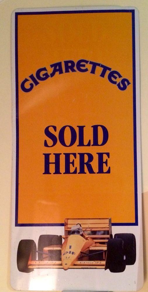 "1980's -  Formula 1 - ""Cigarettes Sold Here"" Steel Sign - 71.5 cm H x 33 cm W"