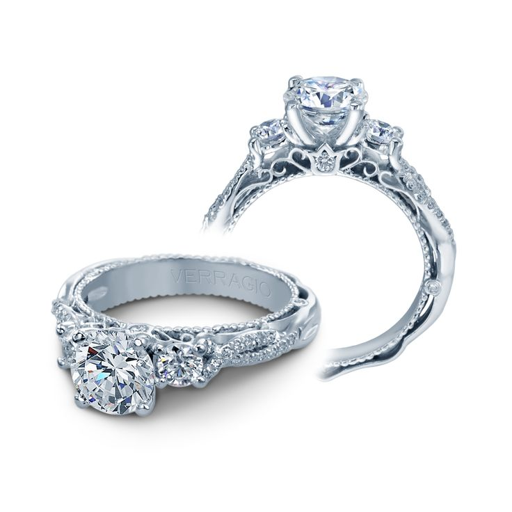 Venetian Crisscross Three Stone Engagement Ring