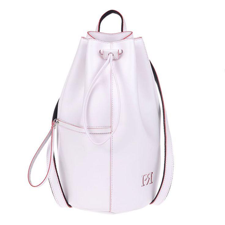 ΤΣΑΝΤΑ PIERRO 00175 ΛΕΥΚΟ  Σακίδιο πλάτης τύπου πουγκί με εξωτερικό τσεπάκι με φερμουάρ.  Ύψος40  Πλάτος22  ΣύνθεσηEco Leather