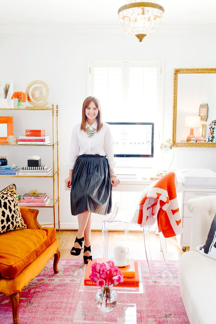 Colorful and vibrant home office of blogger House of Harper