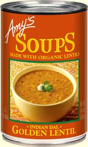 Amy's family often visits a delightful Himalayan restaurant where customers are served a bowl of lentil soup to eat, free of charge, while waiting for their meals to arrive. We were so taken by the flavor of this delicious soup that we asked for the recipe. The owner gave us the recipe and came to Amy's plant to show us how to make it. Organic red lentils and yellow split peas are gently cooked with organic vegetables and traditional spices to create Amy's mildly spiced Golden Lentil soup.