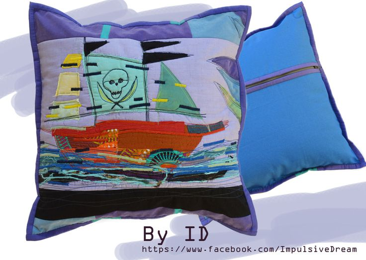 Big Blue Cushion, mixed technique Size: 38x38