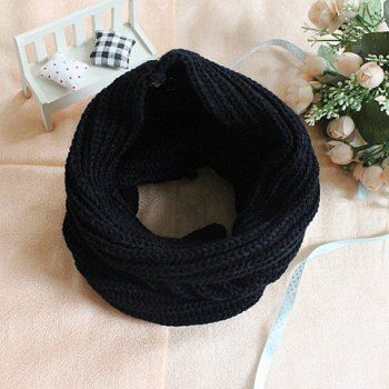 Simple Stylish Warm Style Solid Color Knitting Scarf For Couple, BLACK in Scarves