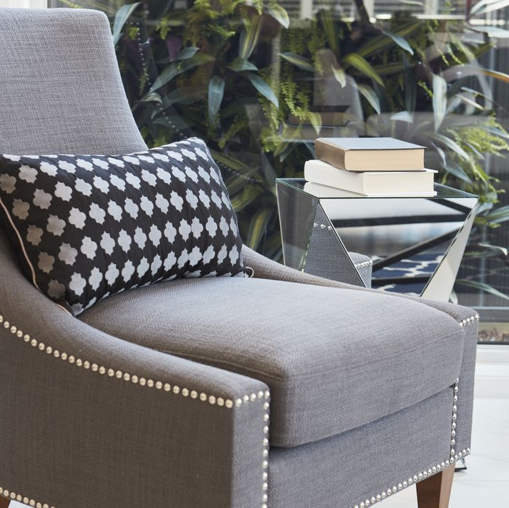 #occasionalchair #readingarea #readingnook #quitetime #downtime #grey #blackandwhite #studs #armchair #relaxing #gardenviews