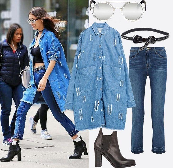 denim style, стиль деним, стиль деним в одежде, стиль деним фото, джинсовая мода, джинсовая мода 2016, джинсовая мода фото, лук с джинсовой рубашкой, модные джинсовые луки, джинсовый лук фото, Стиль звезд