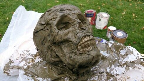 """Diy rotting corpse head. Tutourial from expert village.com on Youtube. Follow my board to find the links to the video. Or search """"how to make a Halloween corpse"""" on YouTube"""