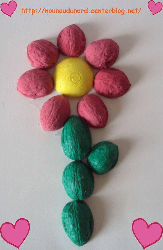 fleur r alis e r alis e avec des coquilles de noix printemps fleurs activit s manuelles. Black Bedroom Furniture Sets. Home Design Ideas