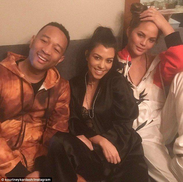 The cool kids club: Kourntey Kardashian, 37, enjoyed a pajama party with best friends John Legend, 38, and Chrissy Teigen, 31 in LA
