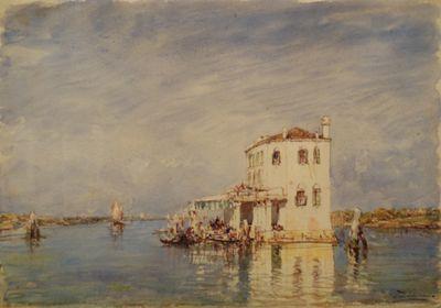 Félix Ziem (1821-1911). La Douane à Venise. Aquarelle sur papier.